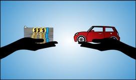 Illustrationen av billånet med räcker silhouetten och den härliga bilen Arkivbild