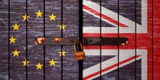 Illustrationen av Brexit, flaggor Förenade kungariket, den europeiska unionen och porten låser upp royaltyfri fotografi
