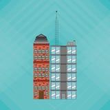 Illustrationen av byggnad, vektordesignen, byggnad och fastigheten gällde Royaltyfri Bild