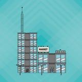 Illustrationen av byggnad, vektordesignen, byggnad och fastigheten gällde Arkivfoton