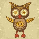 Dekorativa retro utformar owlen Royaltyfri Bild