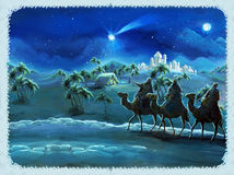 Illustrationen av den heliga familjen och tre konungar - traditionell plats - illustration för barnen Royaltyfri Bild
