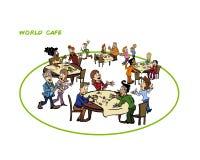 Illustrationen av den kollektiva intelligensprocessen kallade världskafét royaltyfri illustrationer