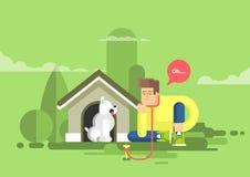Illustrationen av den ledsna mannen sitter bredvid en hund på hundkojan vektor illustrationer
