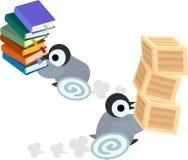 Illustrationen av den nätta pingvinet behandla som ett barn vektor illustrationer