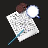 Illustrationen av den Sudoku leken, rånar av mjölkar och chokladkakor royaltyfri illustrationer