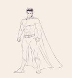Illustrationen av den toppna hjälten i anseende poserar Arkivbilder
