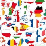 Det seamless Europa landet mönstrar vektor illustrationer