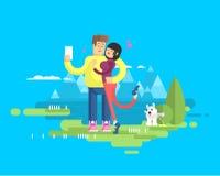 Illustrationen av det lyckliga gifta paret på semester, mannen och kvinnan gör selfie vektor illustrationer