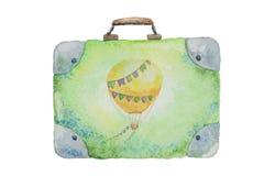 Illustrationen av en resväskagräsplan för lopp målade vattenfärgen royaltyfri illustrationer