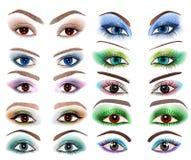 Uppsättningen av kvinnor synar med en olik makeup Royaltyfri Fotografi