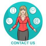 Illustrationen av ett blont tecken för affärskvinna med infographic kontaktar oss royaltyfri illustrationer