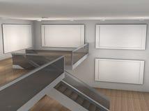 Illustrationen av ett tomt museum med 4 inramar Fotografering för Bildbyråer