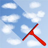 Illustrationen av fönsterlokalvårdbakgrund med blå himmel och vit fördunklar vektor illustrationer