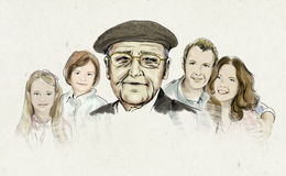 Illustrationen av familjen som presenterar farfadern, fostrar och avlar och barn Royaltyfri Fotografi