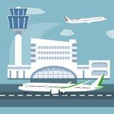 Illustrationen av flygplatsterminalen Royaltyfri Fotografi