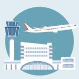 Illustrationen av flygplatsterminalen vektor illustrationer