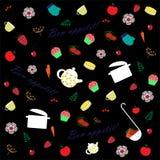 Illustrationen av frukter, grönsaker och blommor ställde in Royaltyfria Bilder