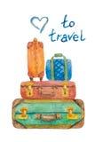 Illustrationen av fyra resväskor för lopp på en vit bakgrund målade med vattenfärgen royaltyfria bilder