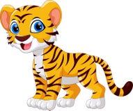 Illustrationen av gulligt behandla som ett barn tigertecknad filmleende royaltyfri illustrationer