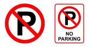 Inget parkera undertecknar stock illustrationer