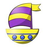 Illustrationen av isolerade en segelbåt Färgrika det gjorde randig tecknad filmillustrationskeppet seglar dekorerat Yacht för att vektor illustrationer