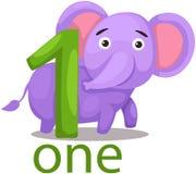 Numrera ett tecken med elefanten Fotografering för Bildbyråer