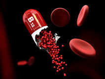 Illustrationen av kapseln för vitaminet B12 upplöser i magen Arkivfoton