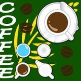 Illustrationen av koppkaffe och mjölkar Arkivbilder