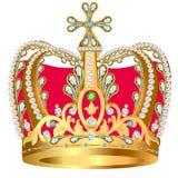 Av kungligt guld- kröna med juvlar och prydnaden royaltyfri illustrationer