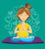 Illustrationen av kvinnan som gör före födseln yoga i lotusblomma, poserar Arkivfoton