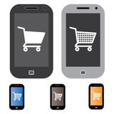 Illustrationen av on-line shopping genom att använda mobil/cellen ringer Arkivfoto