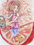 Illustrationen av lite flickan i klänningen som garneras med blommor och bär i en docka, avbildar stock illustrationer