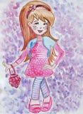 Illustrationen av lite flickan i klänningen som garneras med blommor och bär i en docka, avbildar vektor illustrationer