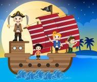 Illustrationen av lite piratkopierar seglar med skeppet Arkivfoton