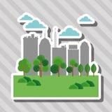 Illustrationen av naturstaden, vektordesignen, byggnad och fastigheten gällde Arkivfoto