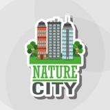 Illustrationen av naturstaden, vektordesignen, byggnad och fastigheten gällde Royaltyfria Bilder