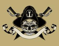 Illustrationen av piratkopierar skallen Royaltyfri Fotografi