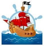 Illustrationen av piratkopierar skeppet vektor illustrationer