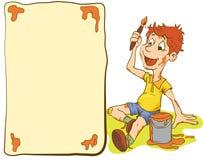 Illustrationen av pojken för den lilla ungen målar en vykort Arkivbilder