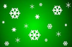 Illustrationen av snö flagar på grön bakgrund Royaltyfri Foto