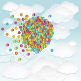 Illustrationen av stor ballongform fyllde med färgrika små runda konfettier Arkivfoton
