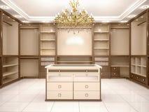Illustrationen av stort tomt går i garderob i lyxigt hus royaltyfri illustrationer