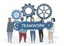 Illustrationen av teckenet med kugghjulet utrustar att beskriva teamworkbegrepp stock illustrationer