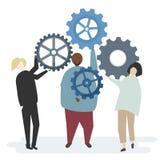 Illustrationen av teckenet med kugghjulet utrustar att beskriva teamworkbegrepp royaltyfri illustrationer