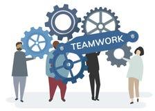 Illustrationen av teckenet med kugghjulet utrustar att beskriva teamworkbegrepp vektor illustrationer