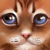 Illustrationen av tystar ned av en röd kattunge vektor illustrationer