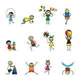Illustrationen av ungar (barn) som leker och har gyckel på, skolar Royaltyfri Bild