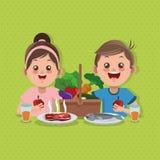 Illustrationen av ungar meny, vektordesignen, mat och näring gällde vektor illustrationer