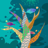 Illustrationen av världen av barns fantasi: Färgrikt musikträd under havet vektor illustrationer